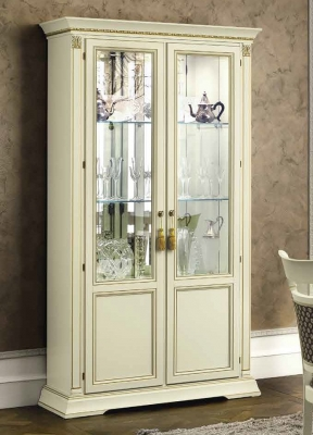 Camel Treviso Day White Ash Italian 2 Door Vetrine with Glass Shelves