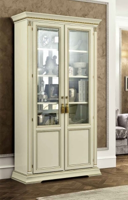 Camel Treviso Day White Ash Italian 2 Door Vetrine with Wooden Shelves