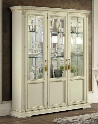 Camel Treviso Day White Ash Italian 3 Door Vetrine with Glass Shelves
