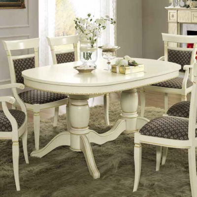 Camel Treviso Day White Ash Italian Oval Extending Dining Table