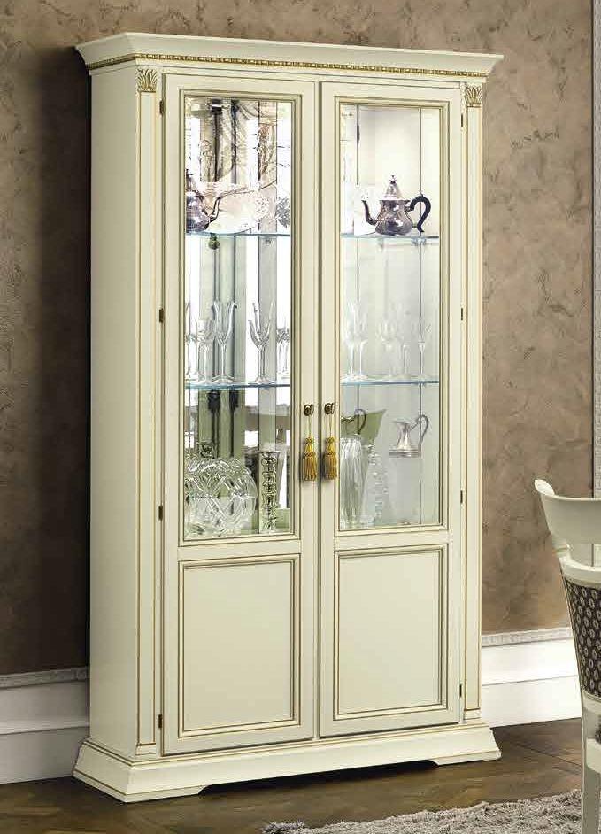 Camel Treviso Day White Ash Italian 2 Door Vetrine with Glass Shelves