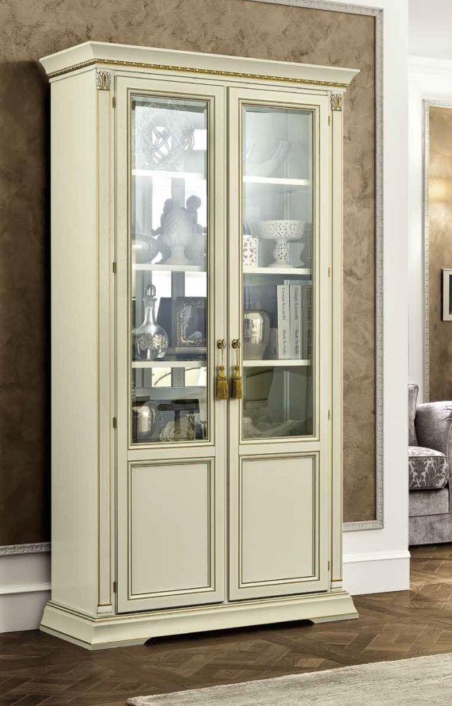 Camel Treviso Day White Ash Italian 2 Door Vetrine with Wooden Shelves