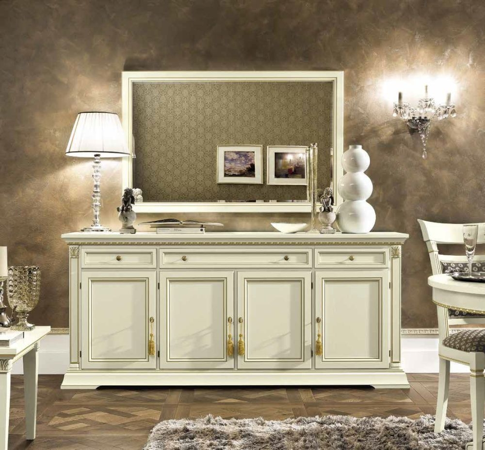 Camel Treviso Day White Ash Italian 4 Door Buffet Sideboard