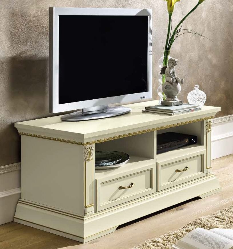 Camel Treviso Day White Ash Italian 2 Drawer Mini TV Cabinet