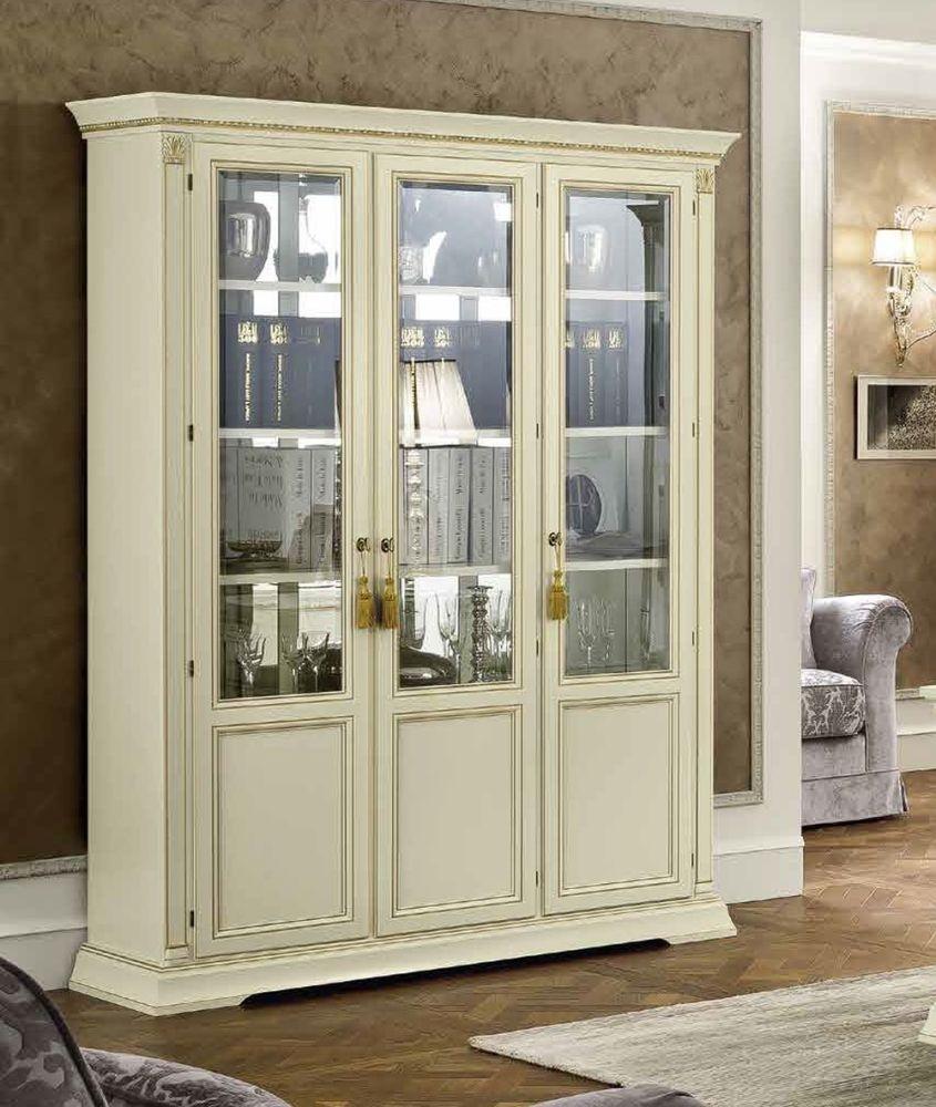 Camel Treviso Day White Ash Italian 3 Door Vetrine with Wooden Shelves