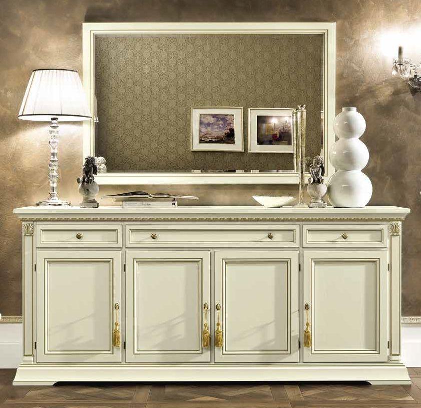 Camel Treviso Day White Ash Italian 4 Door 3 Drawer Buffet Sideboard