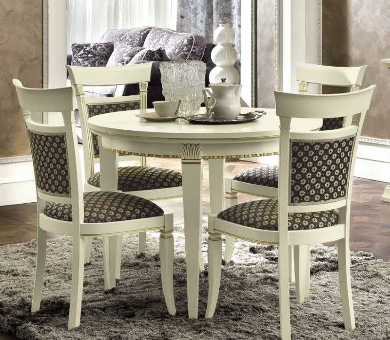 Camel Treviso Day White Ash Italian Round Extending Dining Table