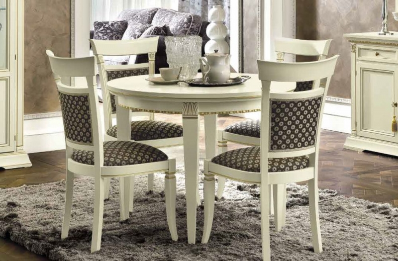 Camel Treviso Day White Ash Italian Round Extending Dining Table and Chairs
