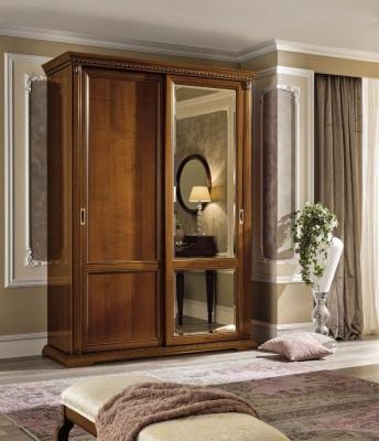 Camel Treviso Night Cherry Wood Italian 2 Door 1 Mirror Sliding Wardrobe