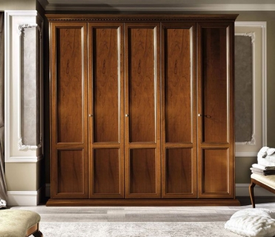 Camel Treviso Night Cherry Wood Italian 5 Door Wardrobe