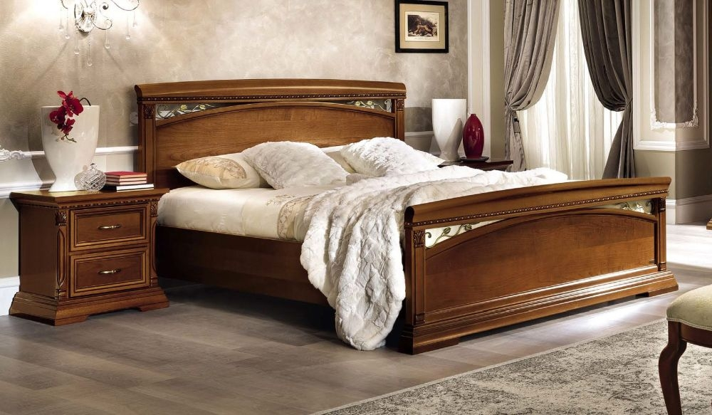 Camel Treviso Night Cherry Wood Italian Bed with Footboard