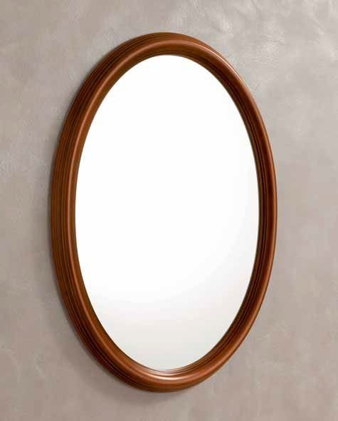 Camel Treviso Night Cherry Wood Italian Oval Mirror - 68cm x 95cm