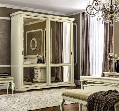 Camel Treviso Night White Ash Italian 2 Mirror Door Sliding Wardrobe