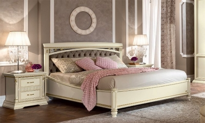 Camel Treviso Night White Ash Italian Capitonne Ring Bed