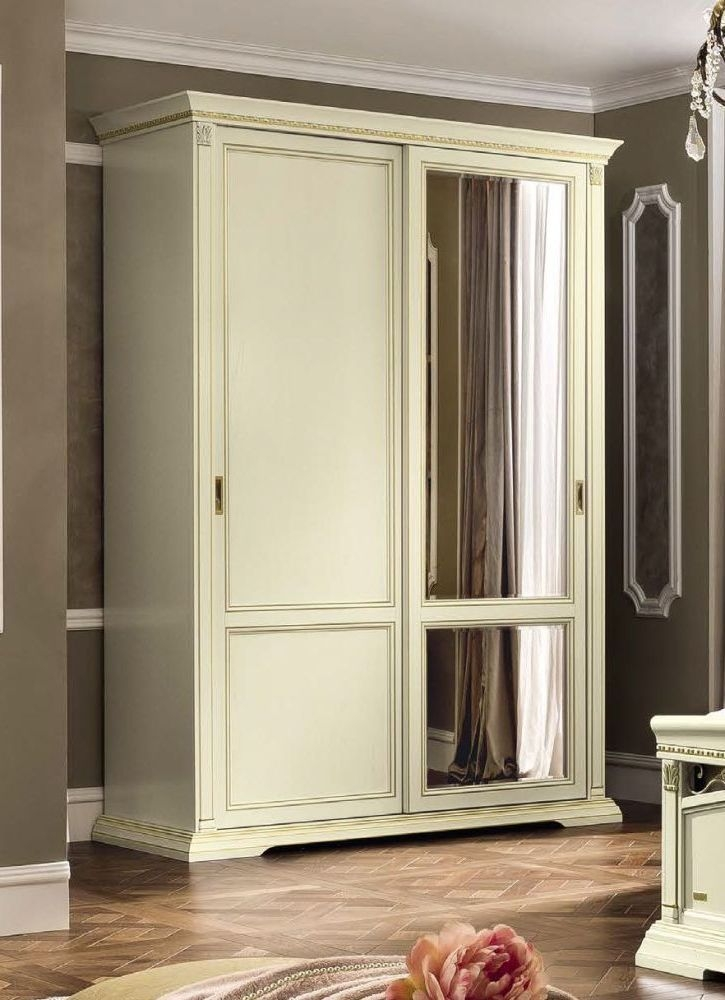 Camel Treviso Night White Ash Italian 2 Door 1 Mirror Sliding Wardrobe