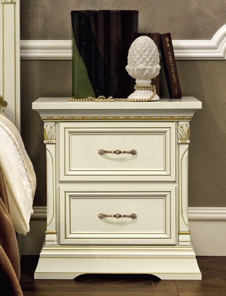 Camel Treviso Night White Ash Italian Bedside Cabinet