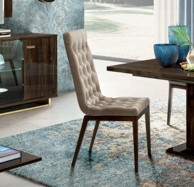 Camel Volare Day Walnut Italian Fabric Capitonne Dining Chair (Pair)