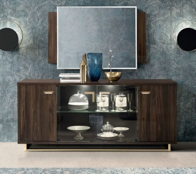 Camel Volare Day Walnut Italian Large Buffet Sideboard
