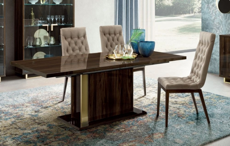 Camel Volare Day Walnut Italian Extending 200cm Dining Table with Capitonne Dining Chair