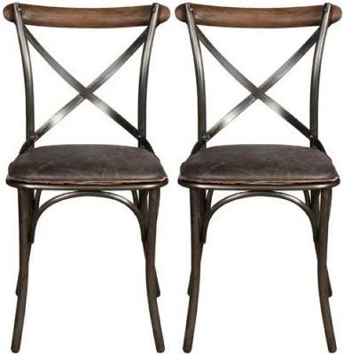 Carlton Additions Bistro Black Leather Dining Chair (Pair)
