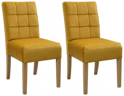 Carlton Additions Colin Plush Mustard Dining Chair (Pair)