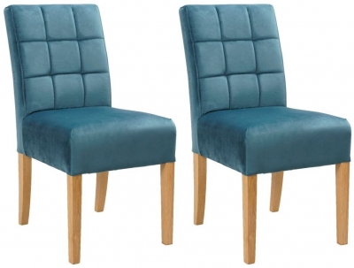 Carlton Additions Colin Plush New Teal Dining Chair (Pair)