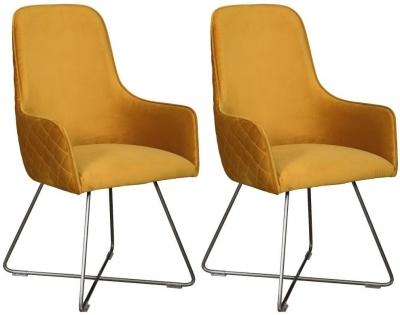 Carlton Additions Utah Plush Mustard Dining Chair (Pair)