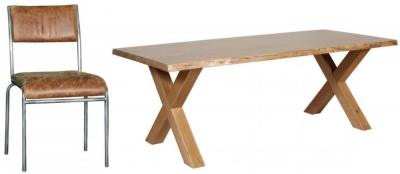 Carlton Additions Barkington Solid Oak Cross Leg Dining Table with 4 Padded Back Chair