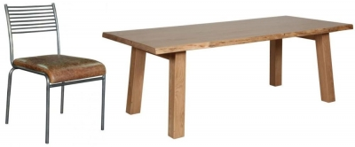 Carlton Additions Barkington Solid Oak Trestle Leg Dining Table with 4 Metal Back Chair