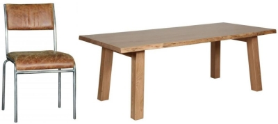 Carlton Additions Barkington Solid Oak Trestle Leg Dining Table with 4 Padded Back Chair