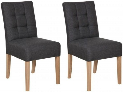 Carlton Additions Colin Grey Fabric Dining Chair (Pair)