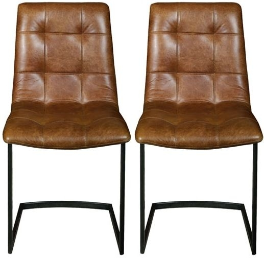 Carlton Additions Hampton Brown Leather Cerato Dining Chair (Pair)
