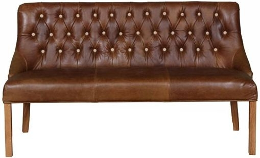 Carlton Additions Stanton Brown Leather 3 Seater Bench