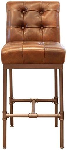 Carlton Additions Union Brown Leather Bar Stool