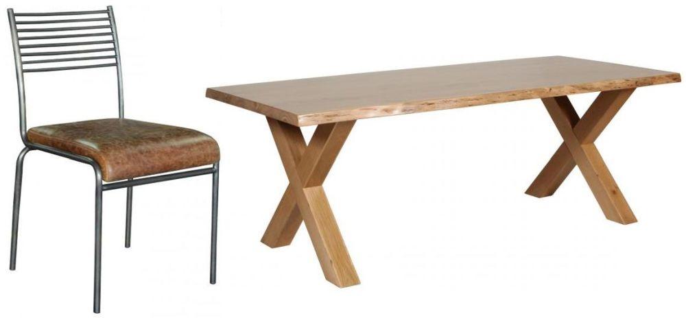 Carlton Additions Barkington Solid Oak Cross Leg Dining Table with 4 Metal Back Chair