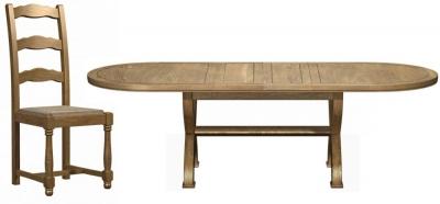 Carlton Copeland Oak 180cm Extending Cross Leg Oval Dining Set with 4 Chairs