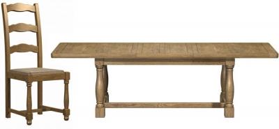 Carlton Copeland Oak 210cm Extending Rectangular Dining Set with 4 Chairs