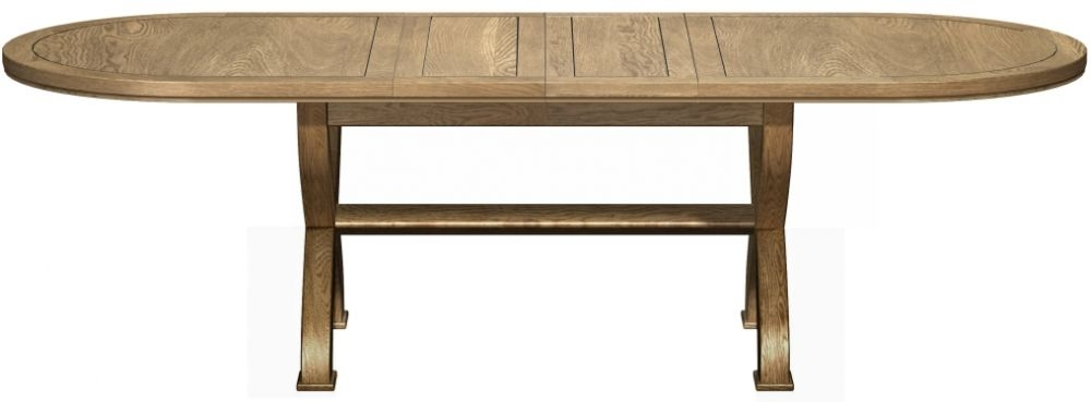Carlton Copeland Oak Cross Leg Oval Dining Table - Extending 180cm