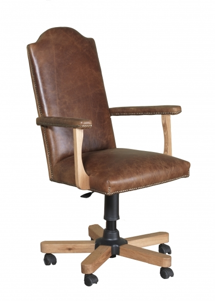 Carlton Copeland Oak 3L Cerato Leather Office Chair