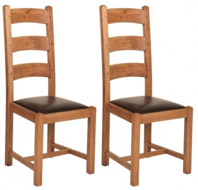 Carlton Rustic Manor Ladder Back Dining Chair (Pair)