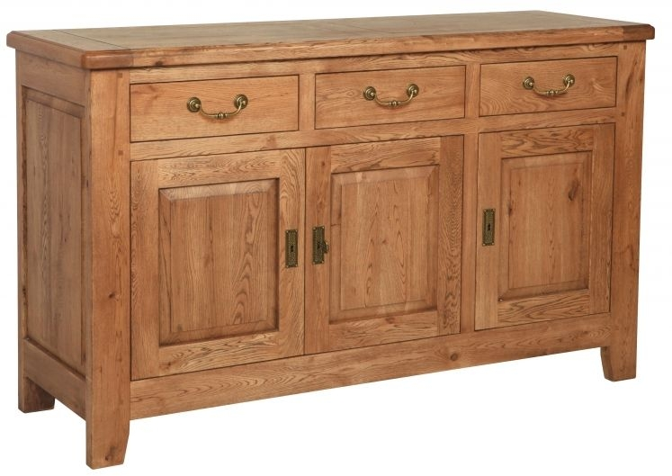 Carlton Rustic Manor Oak Sideboard - 3 Door