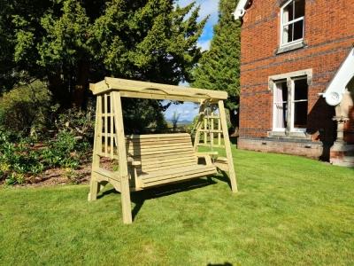 Churnet Valley Cottage Wooden 3 Seater Garden Swing