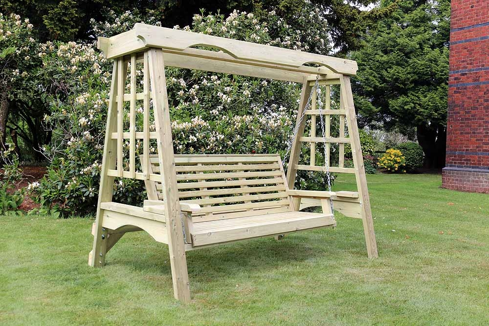 Churnet Valley Cottage Wooden 3 Seater Garden Swing Cfs