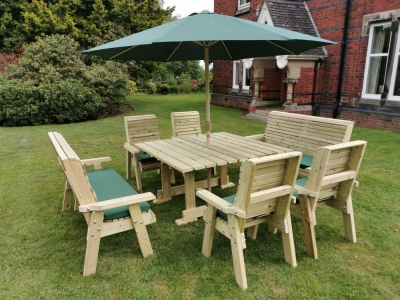 Churnet Valley Ergo Garden Table with 4 Chairs and 2 Bench
