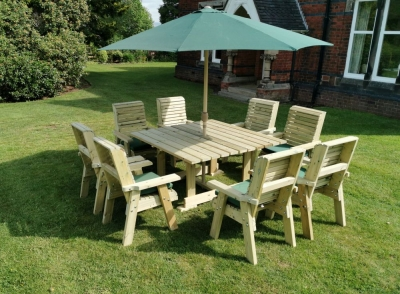 Churnet Valley Ergo Garden Table with 8 Chairs