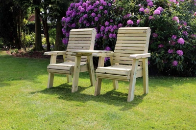Churnet Valley Ergo Garden Love Seats Square Tray Garden Chair