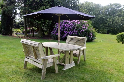 Churnet Valley Ergo Garden Table Set with 2 Benches