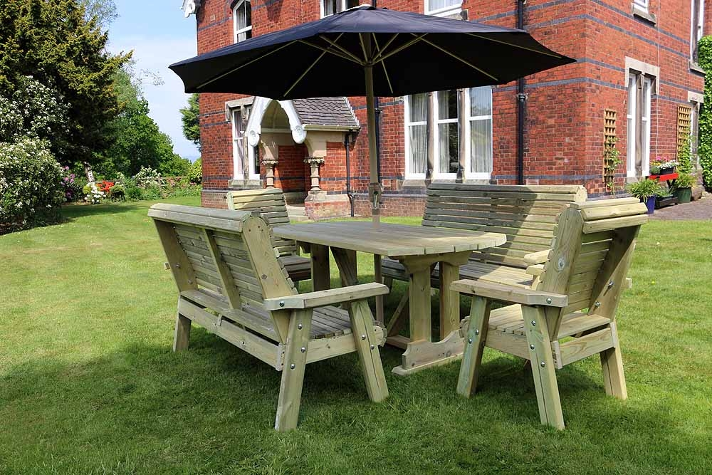 Churnet Valley Ergo Garden Table Set with 2 Chairs and 2 Large Benches