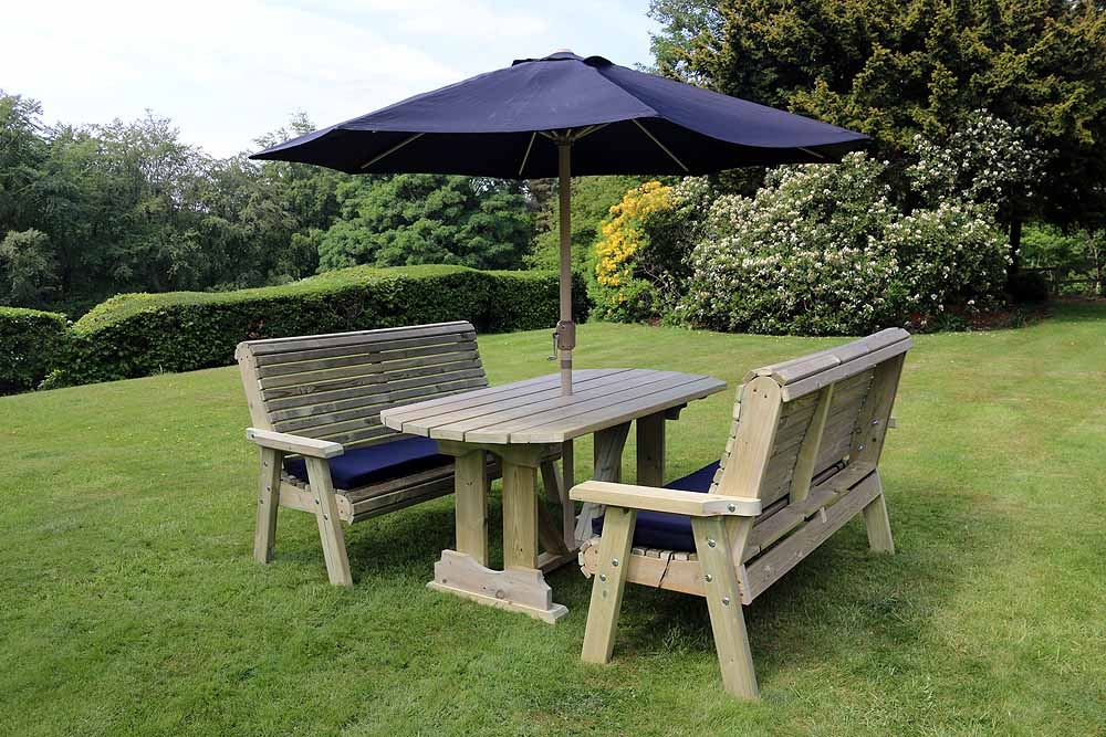 Churnet Valley Ergo Garden Table Set with 2 Large Benches