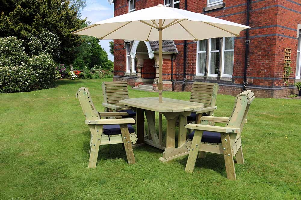 Churnet Valley Ergo Garden Table Set with 4 Chairs